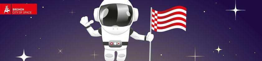 Ein kleiner Zeichentrick-Astronaut steht mit der Bremer Speckflagge auf dem Mond.