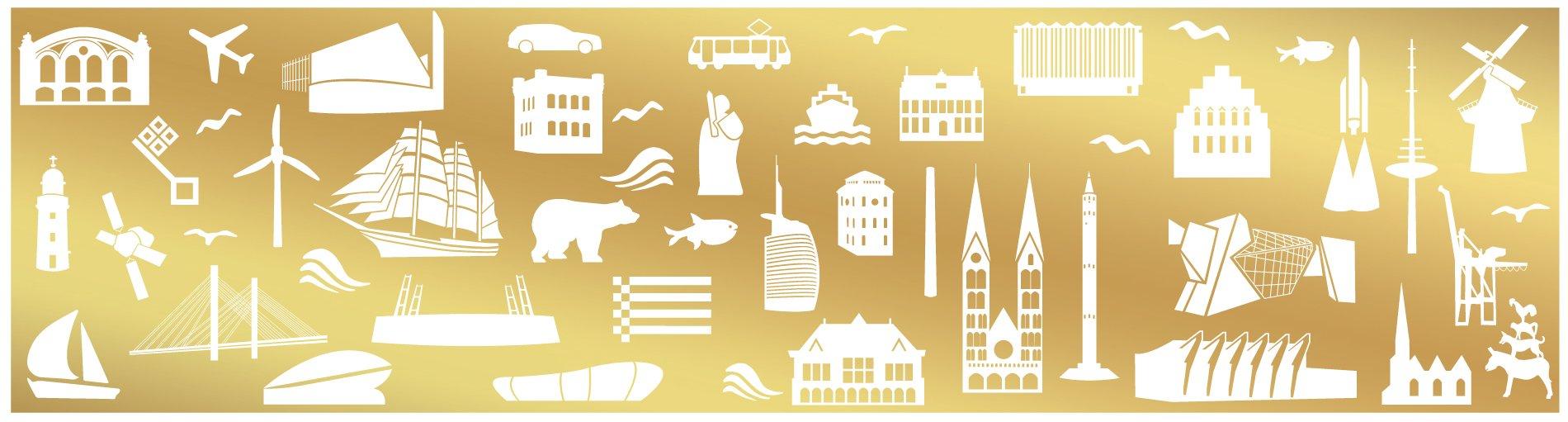 Goldener Hintergrund, darauf weiße Icons mit bremischem Bezug.