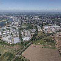 Eine Luftaufnahme vom Gewerbepark Hansalinie (Quelle: WFB/Studio B)