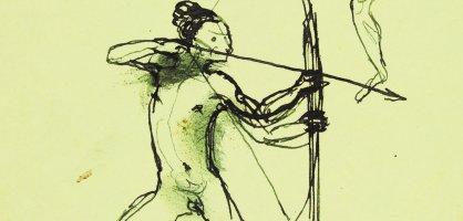 Stehende Figur mit Pfeil und Bogen, um 1910-1915, Tusche auf Papier. Eine Zeichnung von Gerhard Marcks.