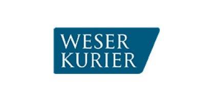 Der weiße Schriftzug Weserkurier auf blauem Hintergrund.