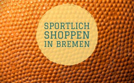 Ein Basketball mit der Aufschrift Sportlich Shoppen.