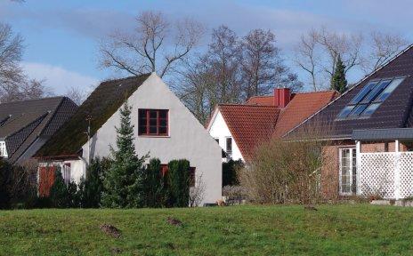 Freistehende Häuser hinter einem grünen Deich.