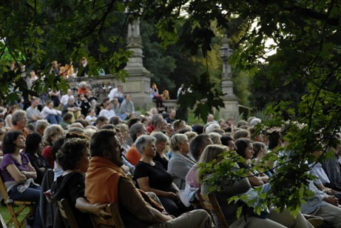 Menschen sitzen auf Stühlen in einem Park