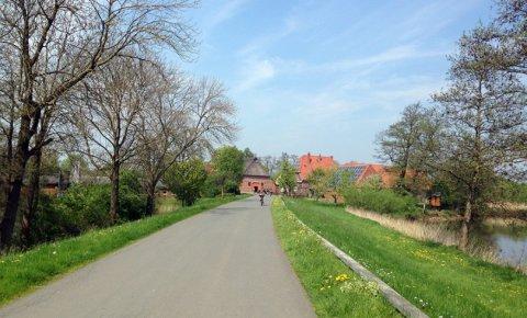 Blick eine von Grün gesäumte Straße entlang auf Fachwerkhäuser