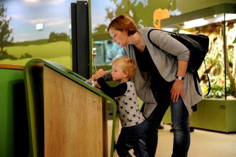 Eine Frau schaut sich mit einem Kind einen Monitor im Entdeckerzentrum an.