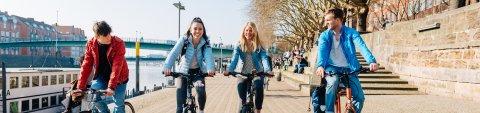 Junge Menschen fahren an der Weser Fahrrad