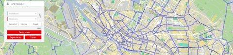 Kartenausschnitt des Bike Citizens Routenplaners in der Webansicht