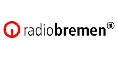 Der Schriftzug Radio Bremen vor weißem Hiontergrund samt rotem Logo.