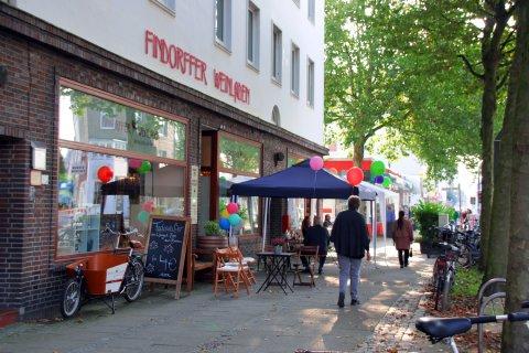 Blick auf einen Weinladen in Findorff
