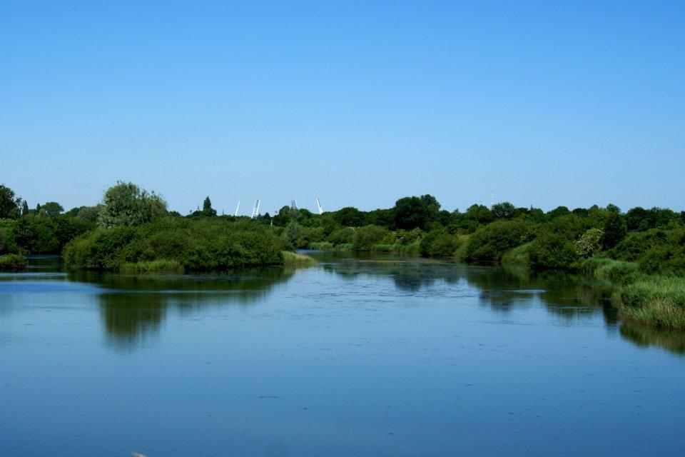 Ein Blick auf das gegenüberliegende Ufer eines Sees mit grünem Ufer. Im Hintergrund das Weserstadion.