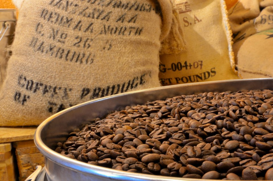 Geröstete Kaffeebohnen, im Hintergrund Kaffeesäcke